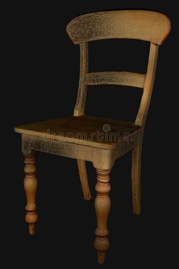 silla de madera modelo 3D que muestra el wireframe ilustración del vector