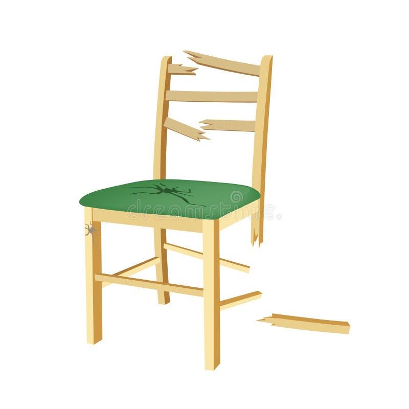 Silla de madera quebrada con el asiento verde libre illustration