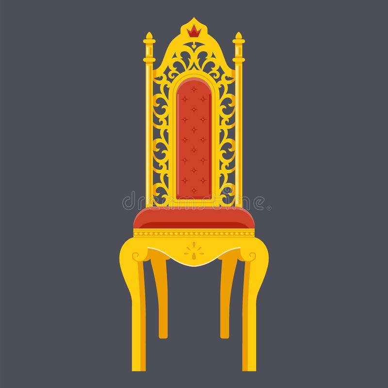 Silla de oro trono majestuoso Objeto plano ilustración del vector