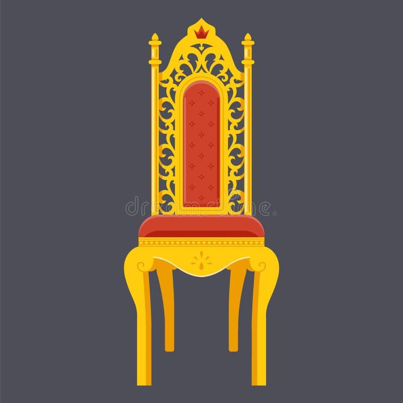 Silla de oro trono majestuoso Vector plano del objeto libre illustration