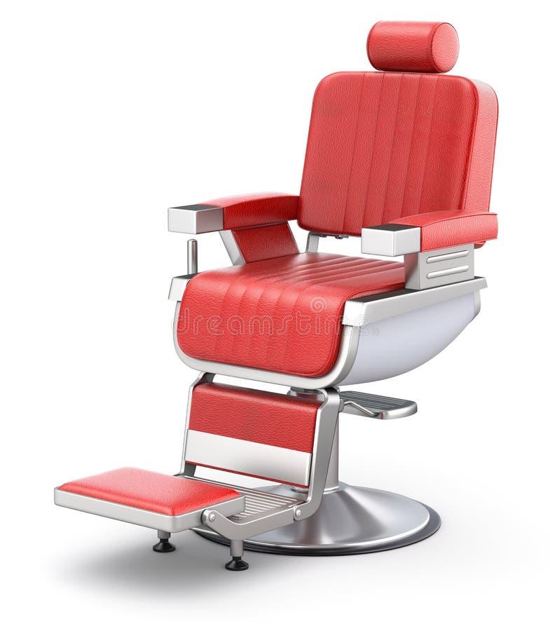 Silla de peluquero roja retra stock de ilustración