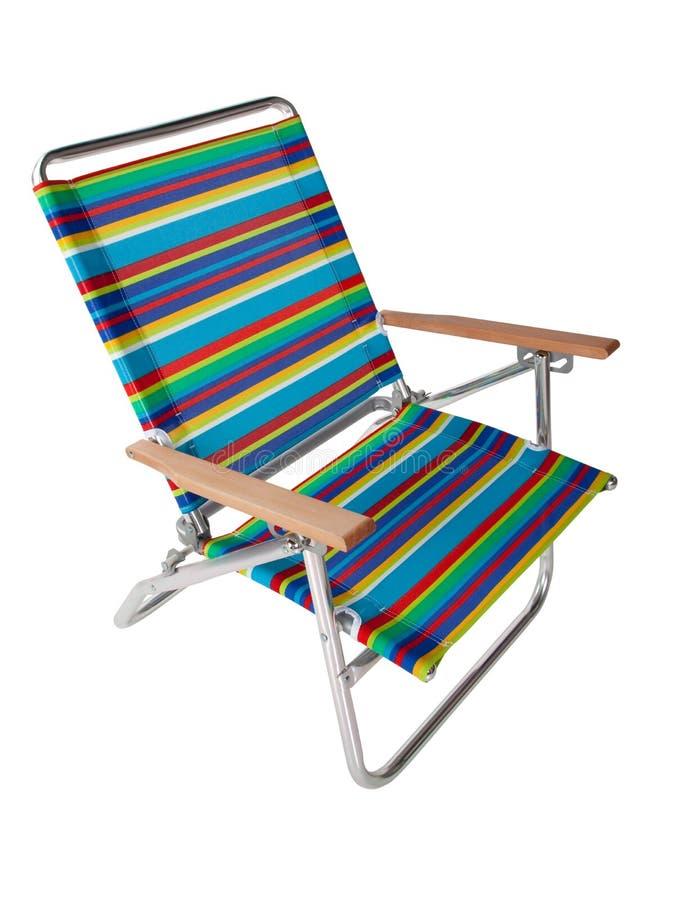 Silla de playa colorida en blanco imagen de archivo