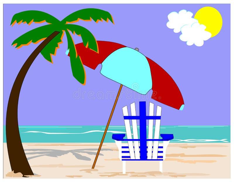 Silla de playa con las palmas libre illustration