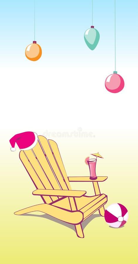 Silla de playa del verano de la Navidad stock de ilustración
