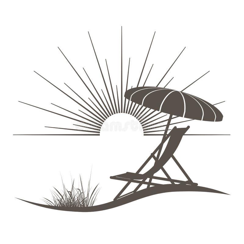 Silla de playa y sombrilla stock de ilustración