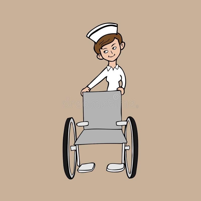Silla de rueda de la enfermera ilustración del vector