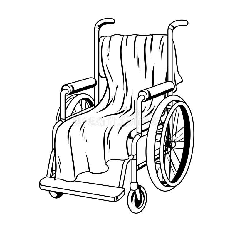 Silla de ruedas con vector del libro de colorear de la tela escocesa libre illustration
