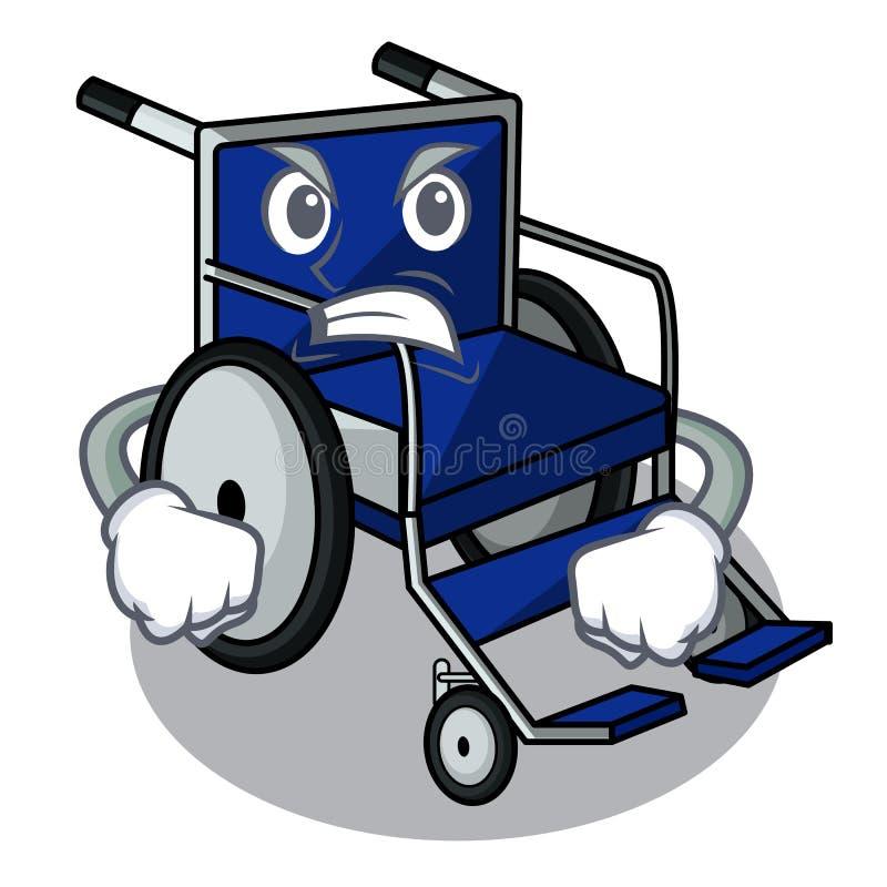 Silla de ruedas enojada de la historieta en un cuarto de hospital ilustración del vector