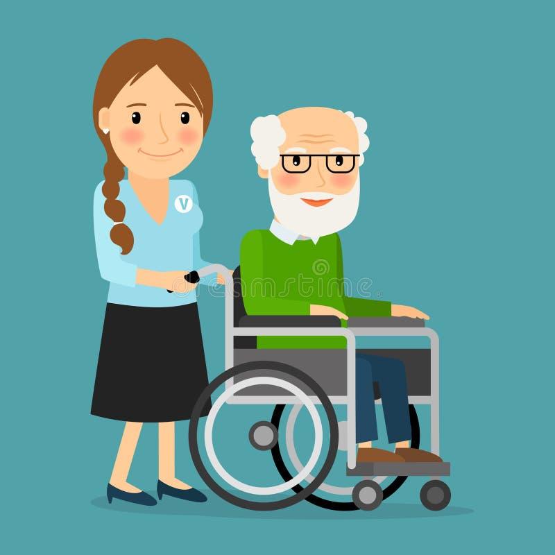 Silla de ruedas que empuja voluntaria con el viejo hombre discapacitado ilustración del vector