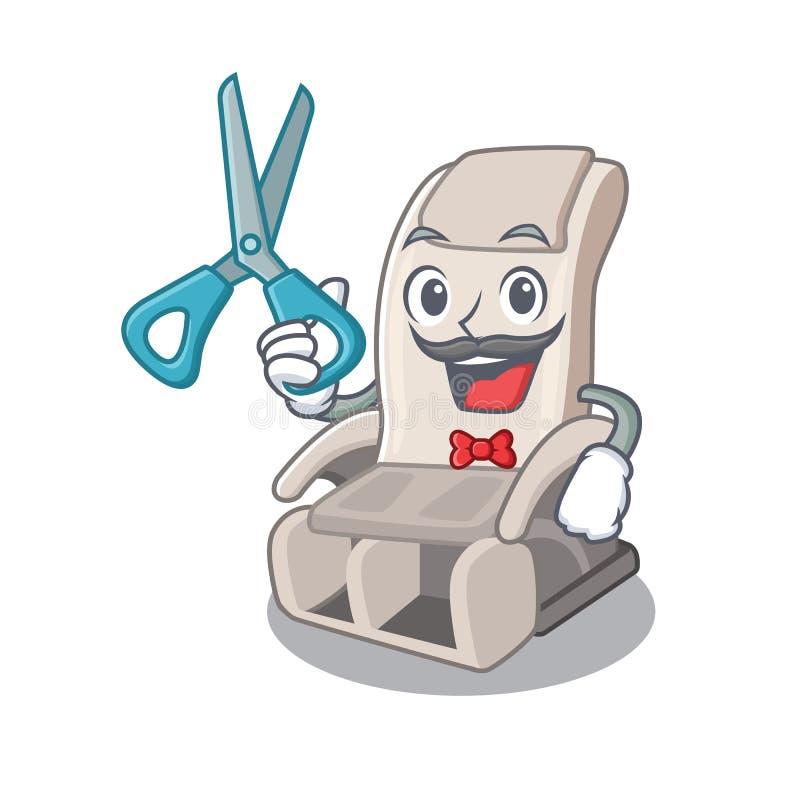 Silla del masaje del peluquero aislada en el carácter stock de ilustración