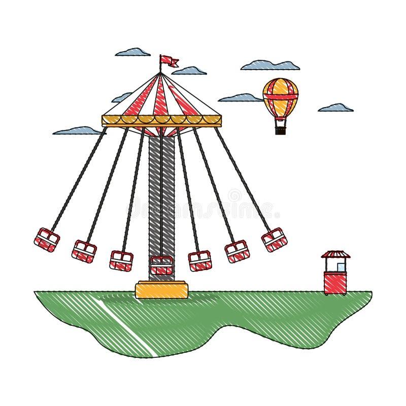 Silla del oscilación del garabato y balón de aire mecánicos con la tienda stock de ilustración