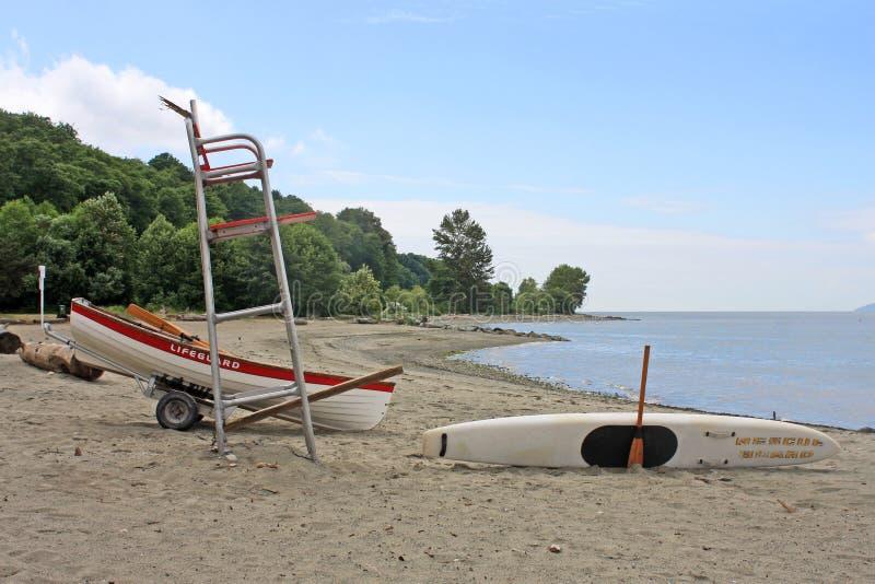 Silla del salvavidas en Jericho Beach, Vancouver imagen de archivo libre de regalías
