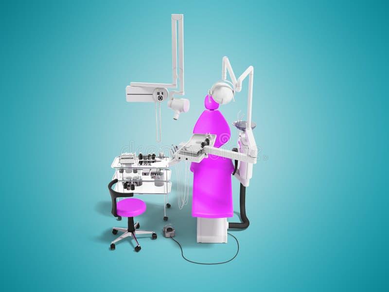 Silla dental de la frambuesa moderna con las herramientas de la odontología en la pequeña representación de la vista delantera 3d stock de ilustración
