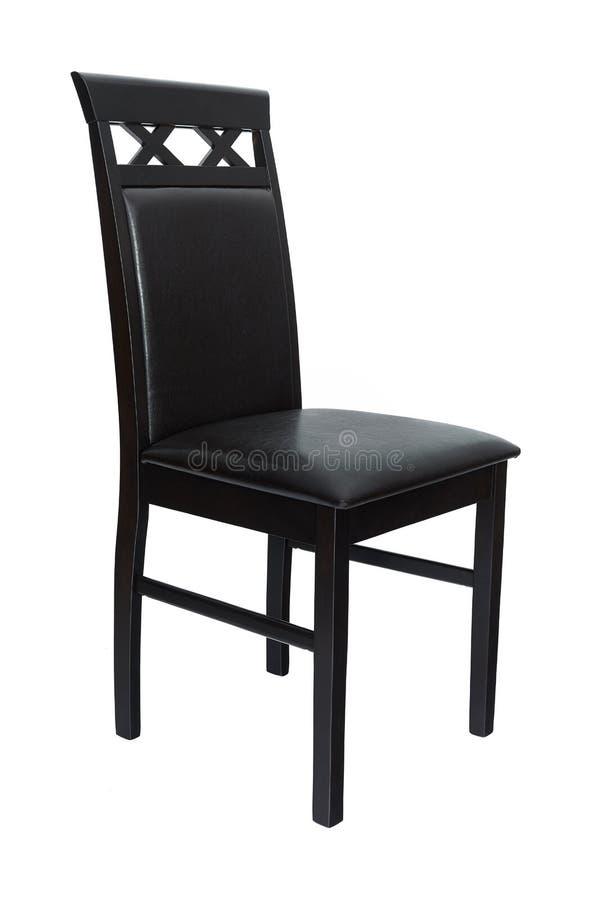 Silla elegante del comedor Silla de madera y de cuero negra clásica para cenar y la cocina, aislada en el fondo blanco fotos de archivo libres de regalías