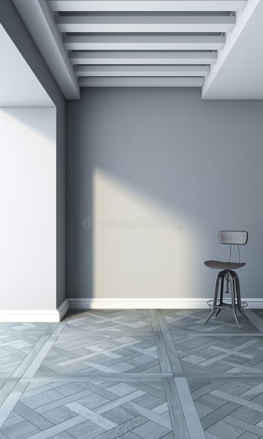 Silla en un cuarto gris stock de ilustración