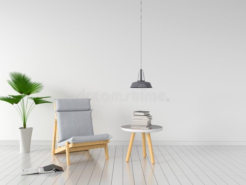 Silla gris en el sitio blanco para la maqueta, representación 3D libre illustration