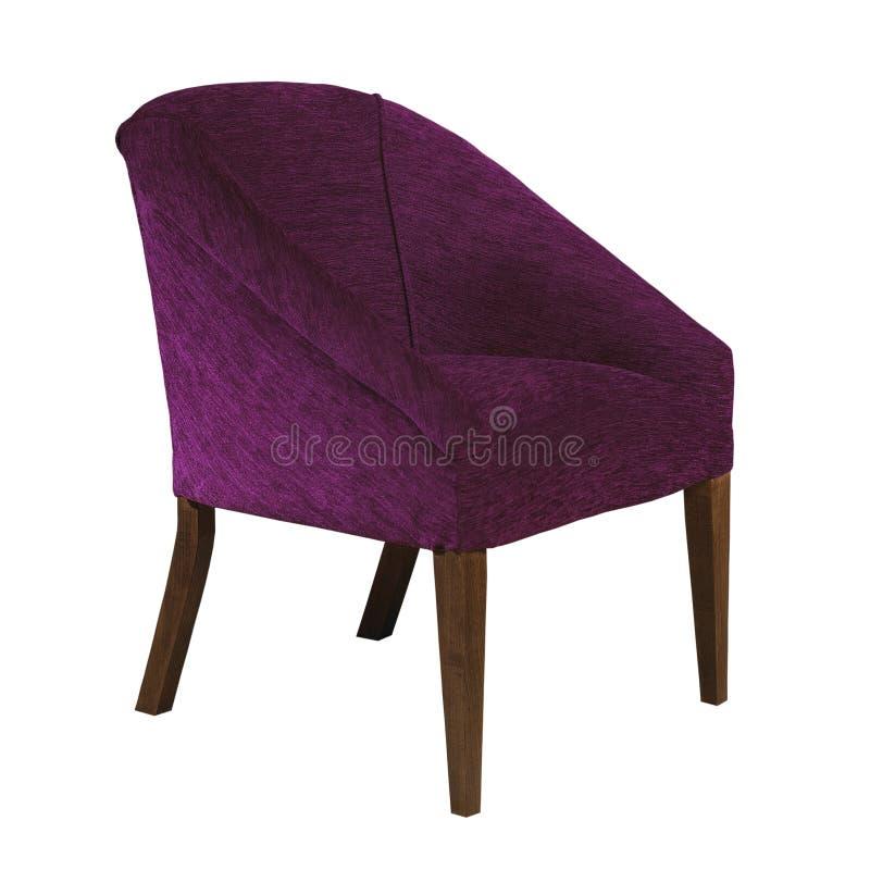 Silla púrpura del brazo de la tela aislada en el fondo blanco foto de archivo libre de regalías