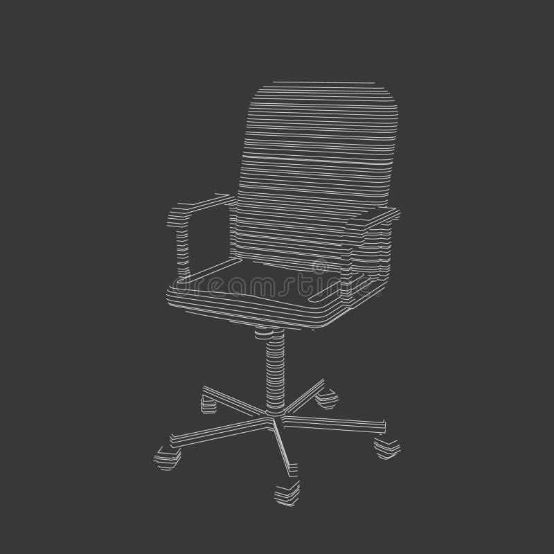 Silla rayada de la oficina ejemplo del contorno del vector ilustración del vector
