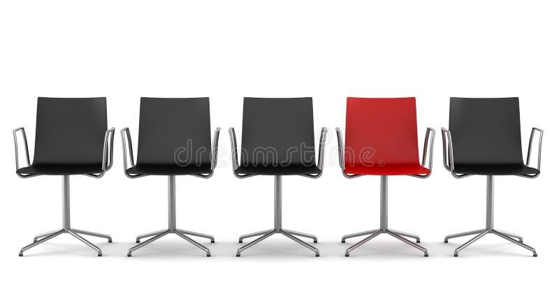 Silla roja de la oficina entre las sillas negras aisladas stock de ilustración