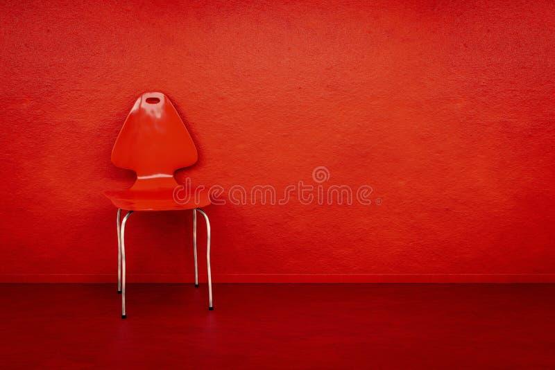 silla roja en una pared roja con el espacio para su contenido stock de ilustración