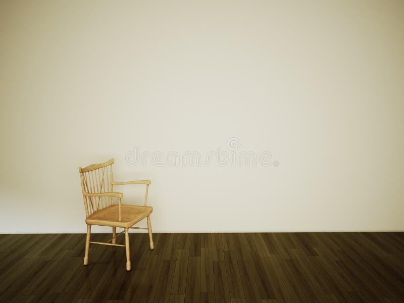Silla vacía del sitio en la pared blanca libre illustration