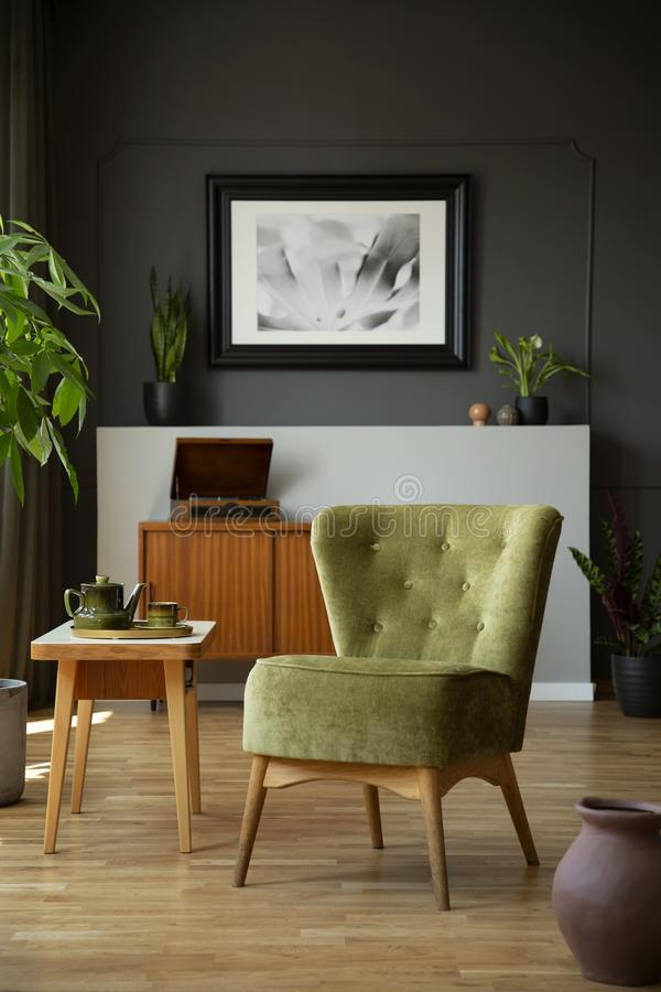 Silla verde al lado de la tabla de madera en interior oscuro de la sala de estar con el cartel y las plantas Foto verdadera fotografía de archivo