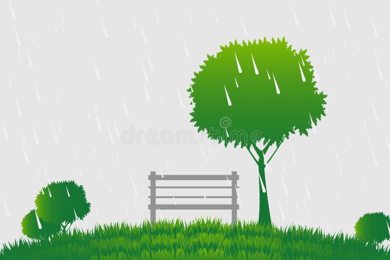 Silla y árbol la lluvia en fondo verde stock de ilustración