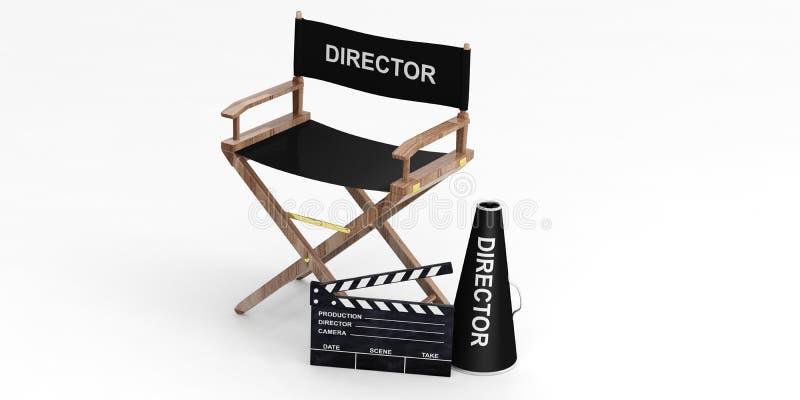 Silla y chapaleta del director de película en el fondo blanco ilustración 3D ilustración del vector
