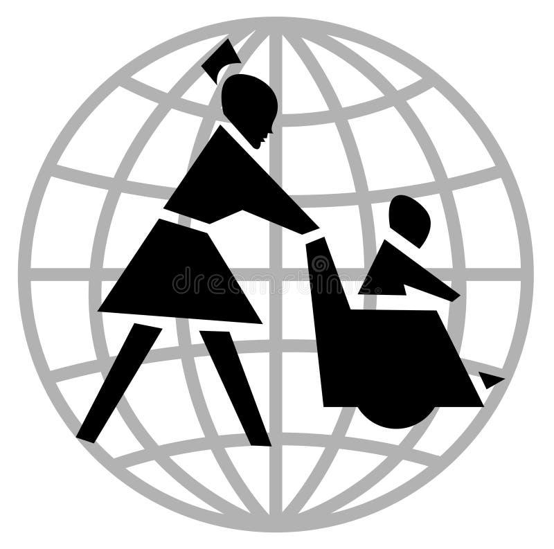 Silla y enfermera de rueda ilustración del vector