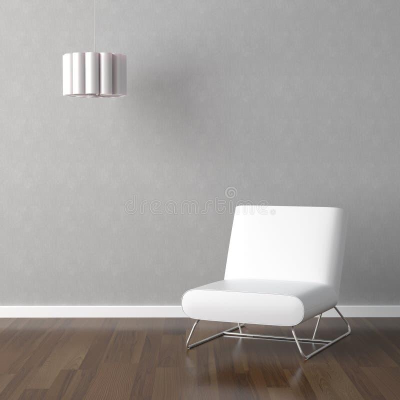 Silla y lámpara blancas en gris stock de ilustración