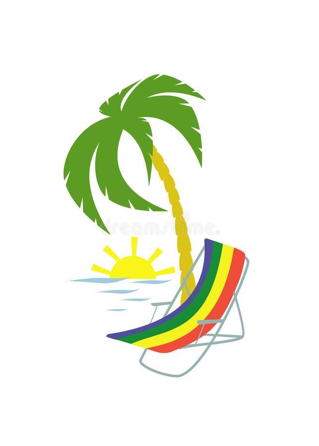 Download Silla y palmera de playa ilustración del vector. Ilustración de coastline - 42442313
