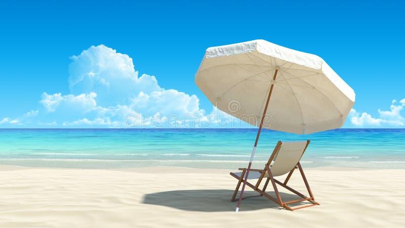 Silla y paraguas de playa en la arena tropical idílica ilustración del vector