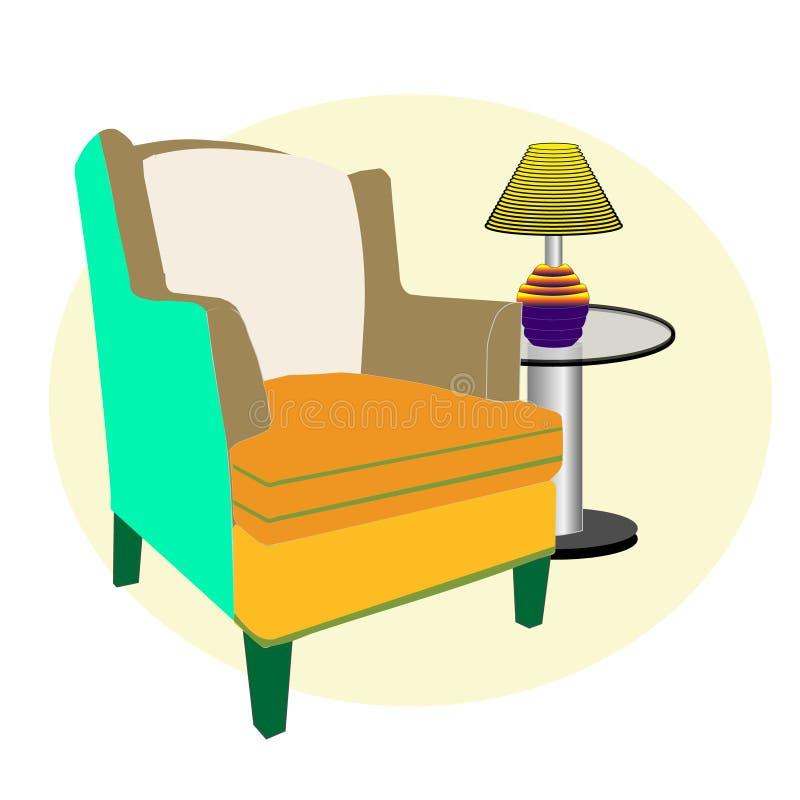 Silla y tabla del sofá en la sala de estar stock de ilustración