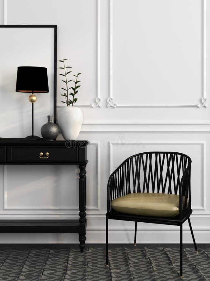Silla y tabla negras contra una pared blanca ilustración del vector