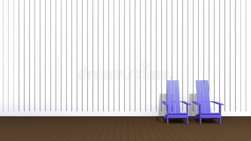 Sillas azules de Adirondack ilustración del vector