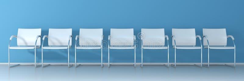 Sillas blancas en fondo azul libre illustration