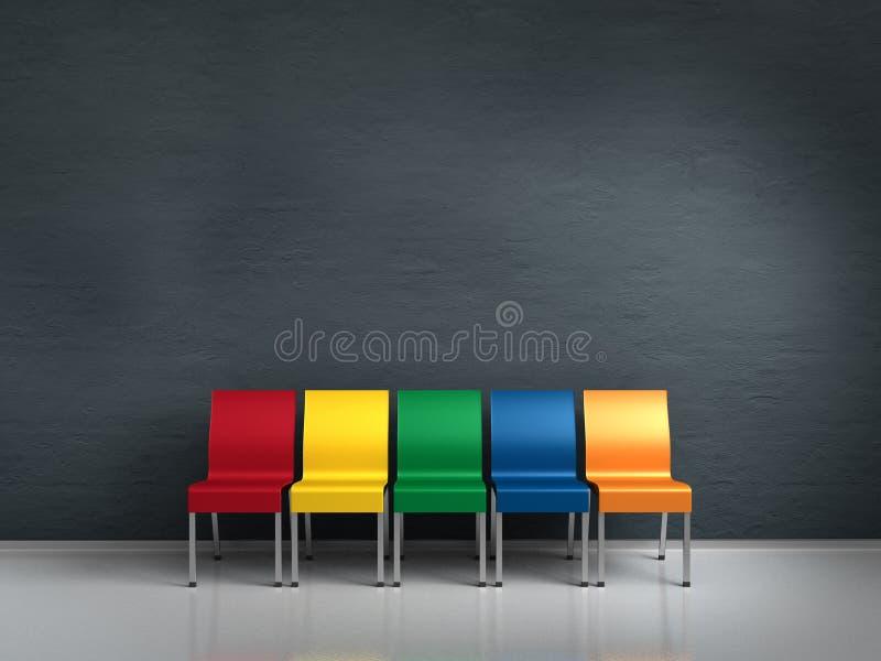 Sillas coloridas stock de ilustración