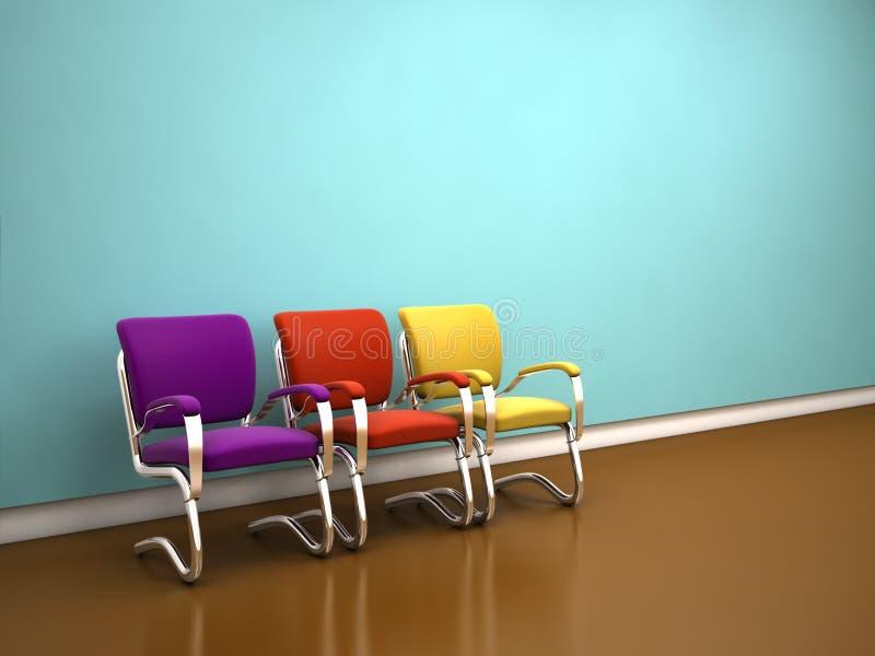 Sillas coloridas cerca de la pared azul ilustración del vector