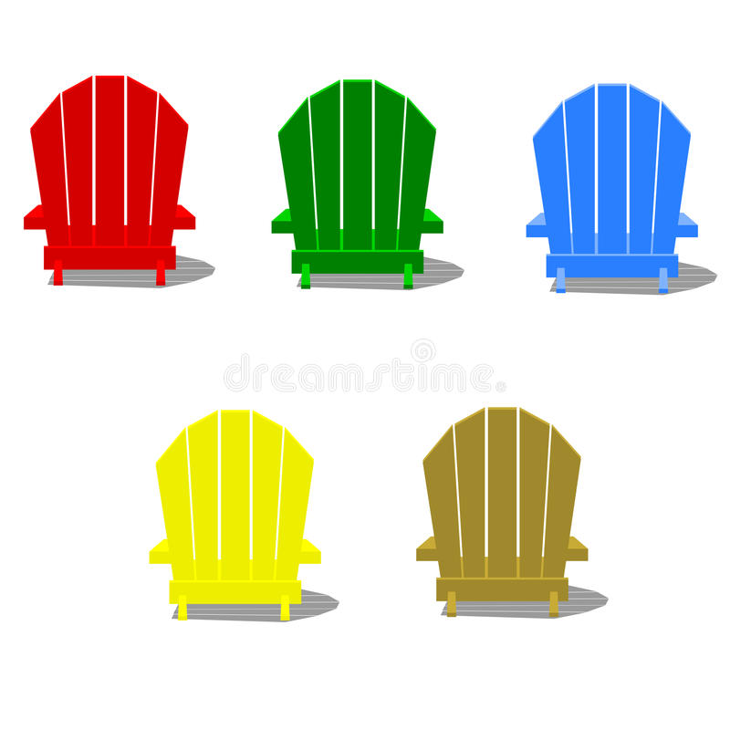 Sillas coloridas de Muskoka ilustración del vector
