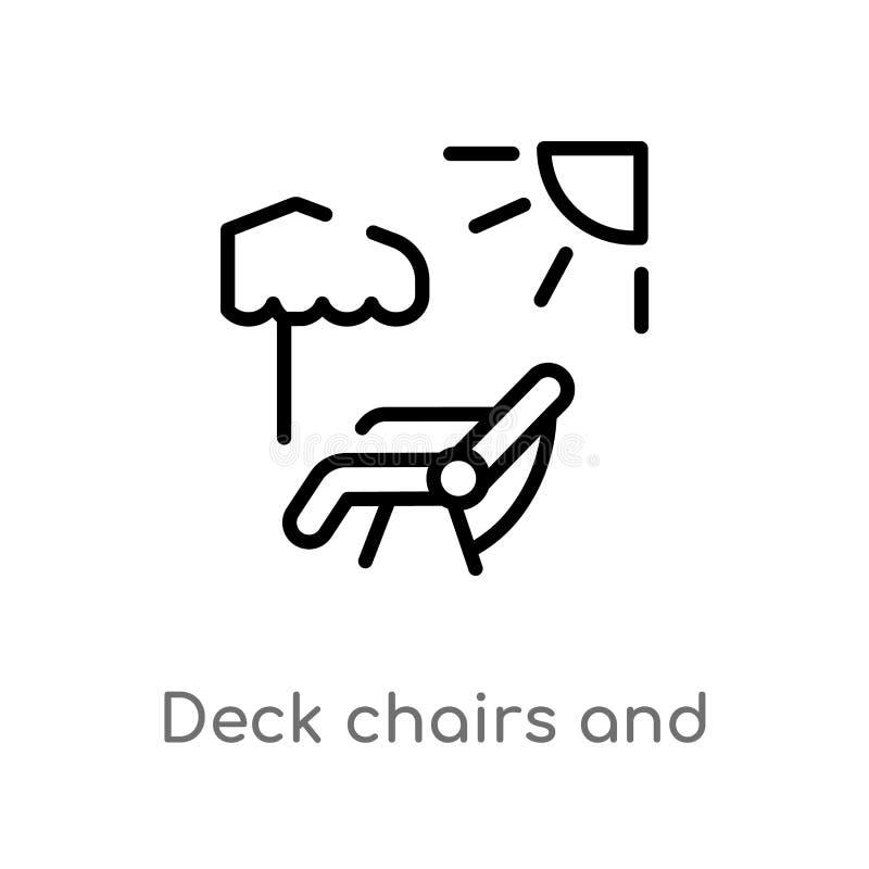 sillas de cubierta del esquema e icono del vector del sol línea simple negra aislada ejemplo del elemento del concepto del verano ilustración del vector