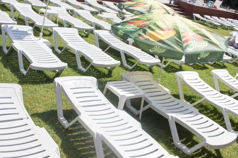 Sillas de cubierta plásticas vacías en una playa herbosa fotos de archivo