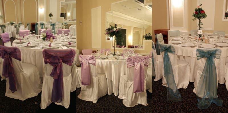 Sillas de la boda en un salón de baile del partido o del acontecimiento foto de archivo