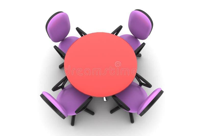 Sillas de la mesa redonda y de la oficina de la conferencia en sala de reunión stock de ilustración