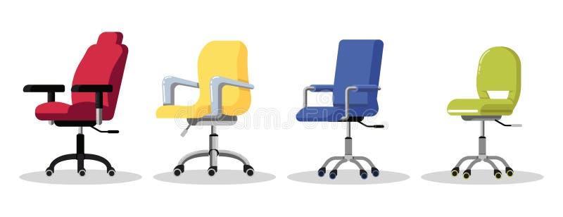Sillas de la oficina con los echadores Butaca ajustable de la altura del escritorio Vista lateral libre illustration