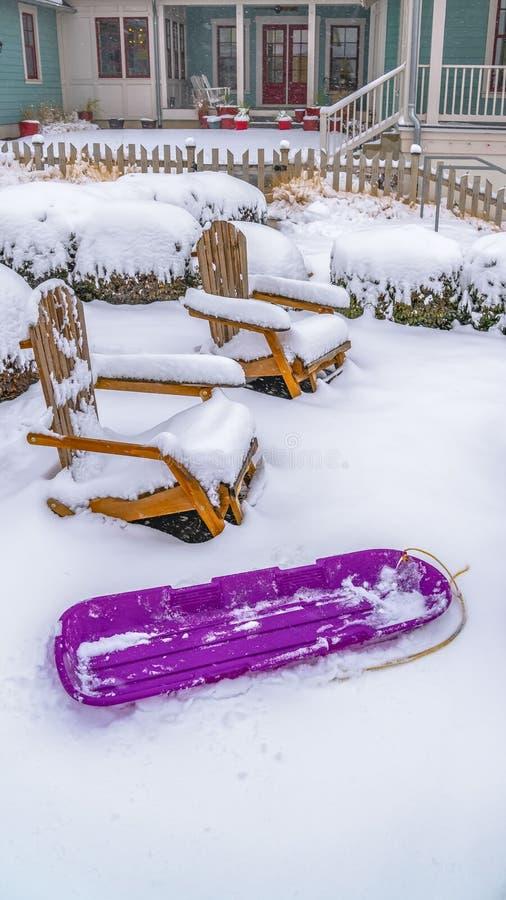 Sillas de madera y arbustos del trineo púrpura vertical claro dentro de un jardín nevoso en la alba Utah fotos de archivo libres de regalías