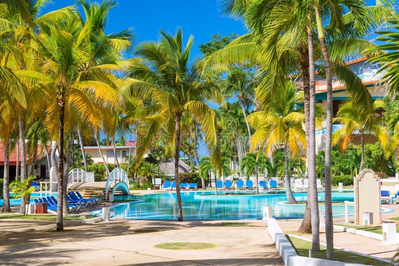 Sillas de playa cerca de la piscina en centro turístico tropical con las palmeras fotografía de archivo libre de regalías