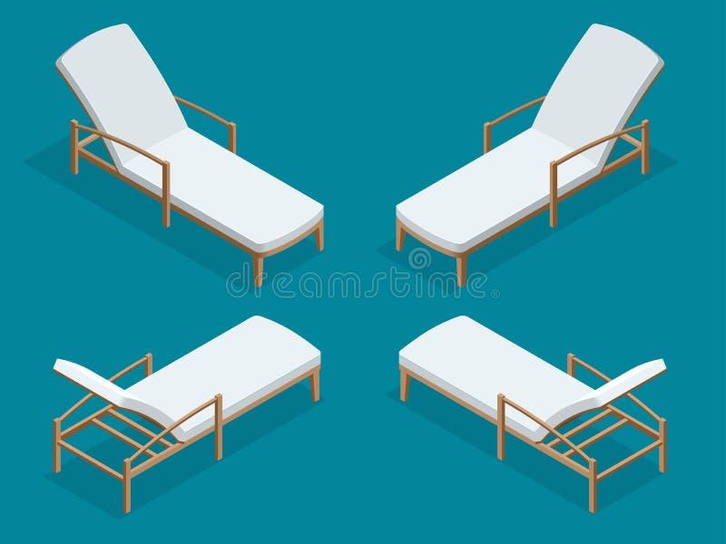 Sillas de playa en fondo azul Ejemplo isométrico plano del vector 3d del sillón de madera de la playa stock de ilustración