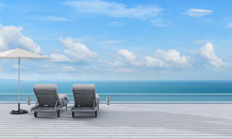 Sillas de playa en piso de madera con la opinión del mar, representación 3D ilustración del vector