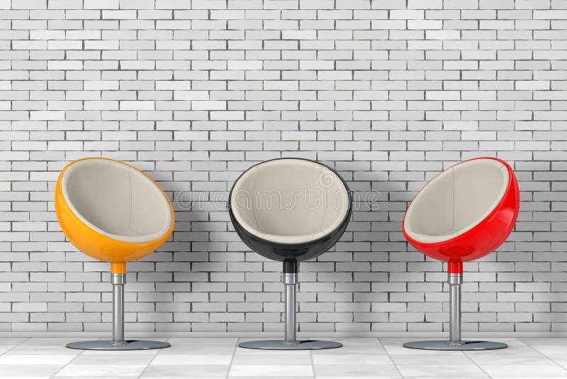 Sillas multicoloras modernas de la bola representación 3d libre illustration