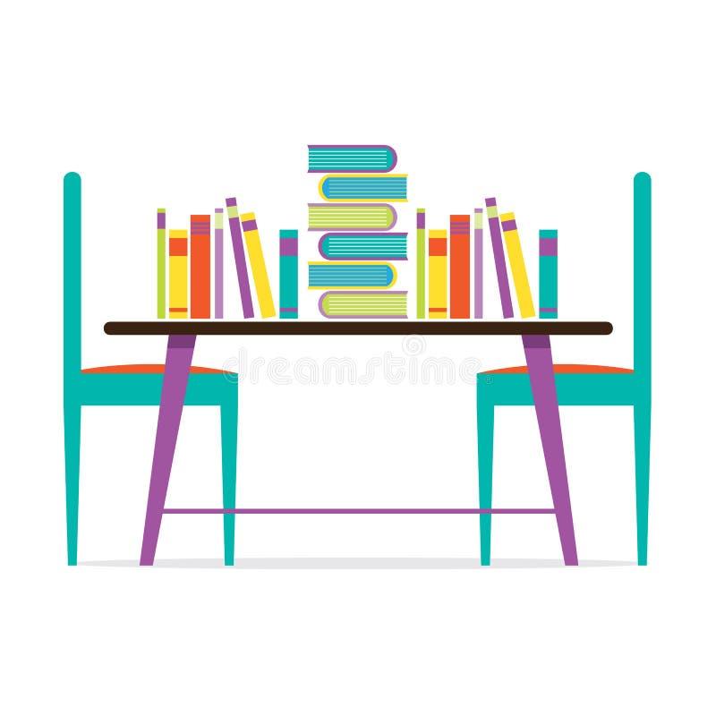 Sillas y libros coloridos en la tabla stock de ilustración
